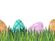 Wielkanocni jajka i zielonej trawy bezszwowy horyzontalny ornament patter ilustracja wektor