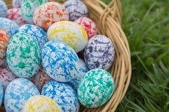 Wielkanocni jajka koszykowi na trawie Zdjęcia Royalty Free