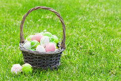 Wielkanocni jajka koszykowi na trawie Fotografia Royalty Free