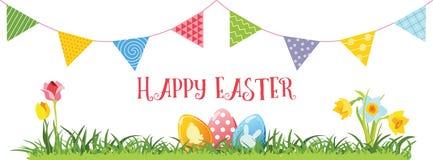 Wielkanocni jajka, kwiaty i girlanda, wektor Fotografia Royalty Free
