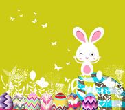 Wielkanocni jajka kwieciści z królikiem ilustracja wektor