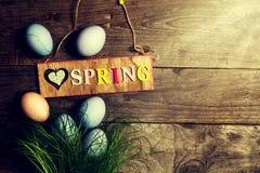 Wielkanocni jajka na Świeżej Zielonej trawie na Drewnianym tle z Pogodnym Obrazy Royalty Free
