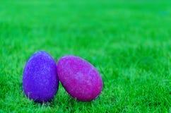 Wielkanocni jajka na trawie Zdjęcie Stock