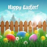 Wielkanocni jajka na wiosny polu Fotografia Stock