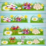 Wielkanocni jajka na zielonej trawie ilustracji