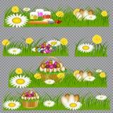 Wielkanocni jajka na zielonej trawie ilustracja wektor