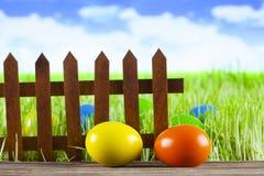 Wielkanocni jajka, stara drewniana płotowa zielona trawa i niebieskie niebo, Fotografia Stock