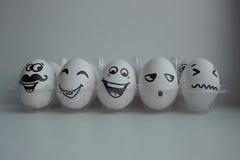 Wielkanocni jajka w biel grupie Zdjęcie Royalty Free