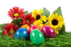 Wielkanocni jajka w busket na zielonych gras odizolowywających Zdjęcie Stock