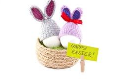 Wielkanocni jajka w gniazdeczku Dziali Wielkanocnego królika Jajko w Wielkanocnej babeczce Zdjęcie Royalty Free