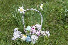 Wielkanocni jajka w kosza i jabłka kwiatach Zdjęcie Royalty Free