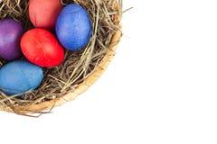 Wielkanocni jajka w koszu Obraz Stock