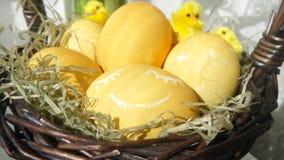 Wielkanocni jajka w koszu z trawą zdjęcie royalty free