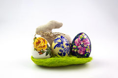 Wielkanocni jajka w scrapbooking stylu na białym tle Fotografia Royalty Free