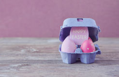 Wielkanocni jajka Wielkanocni wakacje Karcianego rocznika Szczęśliwa wielkanoc Rocznik Obraz Royalty Free