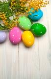 Wielkanocni jajka z gałąź mimoza kwiaty Zdjęcie Royalty Free