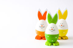 Wielkanocni jajka z królika kształtem, odosobnionym Fotografia Stock