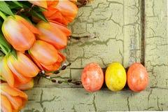 Wielkanocni jajka z pomarańczowymi tulipanami na zielonym rocznika tle fotografia royalty free