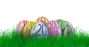 Wielkanocni jajka z euro rachunek teksturami Zdjęcia Royalty Free
