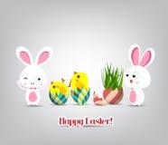 Wielkanocni jajka z trawą r od wierzchołka i królika ilustracji