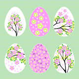 Wielkanocni jajka z wiosna kwiatu wzoru ustaloną wektorową ilustracją Obrazy Royalty Free