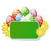 Wielkanocni jajka z zielonym stołem Zdjęcia Stock