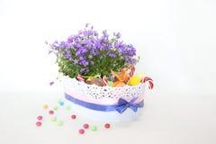 Wielkanocni koszykowi czekoladowych jajek kwiaty Obrazy Stock