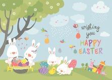 Wielkanocni króliki i Easter jajko Fotografia Royalty Free