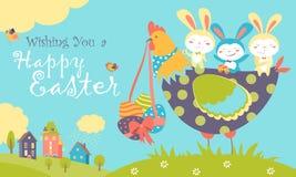 Wielkanocni króliki, kurczak i Easter jajka, ilustracja wektor