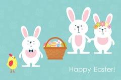 Wielkanocni króliki, kurczak i Easter jajka, wektor Fotografia Stock