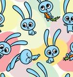 Wielkanocni króliki na bezszwowym deseniowym tle ilustracji
