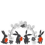 Wielkanocni króliki, wiosna kwitną daffodils i wierzby Wektorowa ilustracja na białym tle Kartka z pozdrowieniami, zaproszenie ilustracja wektor