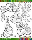 Wielkanocni kreskówka tematy dla barwić Fotografia Stock