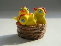 Wielkanocni kurczaki w koszu zdjęcie royalty free
