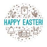 Wielkanocni okregów powitania wielkanoc szczęśliwy royalty ilustracja