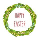 Wielkanocni wiosna tulipany kwitną bouqet, kwiatu wianek, jajko elementy ilustracja wektor