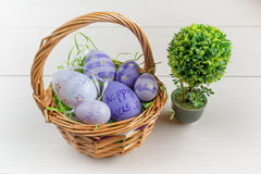Wielkanocny łozinowy kosz z barwionymi jajkami i małym bonsai na drewnianej desce Zdjęcie Royalty Free