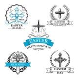 Wielkanocny święty krzyż z gołąbki odznaki ptasim setem ilustracja wektor