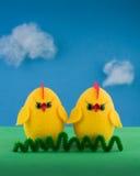 Wielkanocny żółty kurczak Fotografia Stock