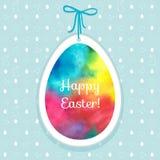 Wielkanocny akwareli tło i bezszwowy wzór z jajkami ilustracja wektor