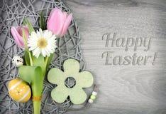 Wielkanocny arragement i podpis Fotografia Stock