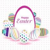 Wielkanocny dzień dla jajka na wektorowym projekcie Kolorowy jajko odizolowywający na bielu i menchii tle Obrazy Royalty Free
