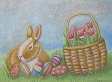 Wielkanocny dzień z tulipanami i jajkami Obrazy Royalty Free