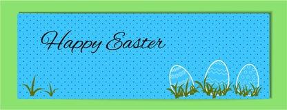 Wielkanocny horyzontalny sztandar w błękicie i czarnym grochu wielkanoc szczęśliwy Ilustracja obrysowywający jajka z wzorem w zie ilustracja wektor