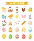 Wielkanocny ikona set, mieszkanie styl pojedynczy białe tło również zwrócić corel ilustracji wektora Obrazy Stock