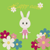 Wielkanocny ilustracyjny królik i kwiaty Fotografia Stock
