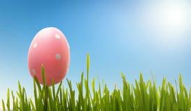 Wielkanocny jajko i trawa przeciw niebieskiemu niebu obrazy royalty free