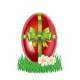 Wielkanocny jajko na trawie z prezenta łękiem odizolowywającym Obrazy Stock
