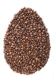 Wielkanocny jajko od kawowych fasoli i gatunków odizolowywających na białym tle fotografia royalty free