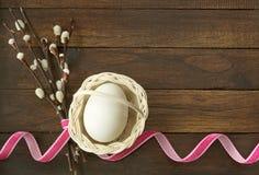 Wielkanocny jajko w koszu z puszystą wierzbą Obraz Stock
